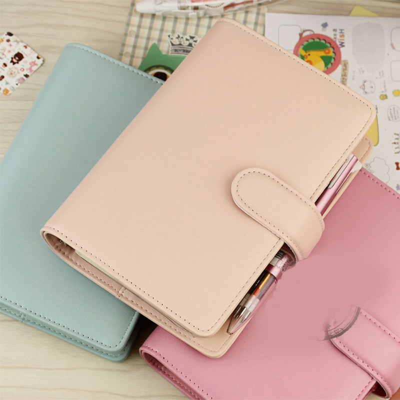 Loose Leaf Notebook Leather Hand Book Stationery SWEET Series Day Planner A5 A6 A7 Personal Diary Office School Gift Supplies high quality pu cover a5 notebook journal buckle loose leaf planner diary business buckle notebook business office school gift