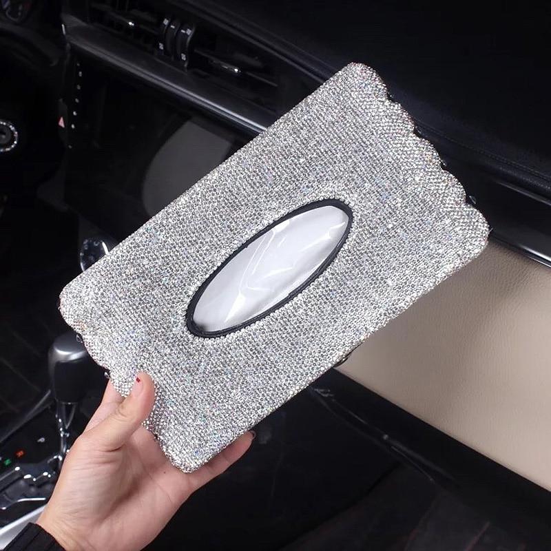 Criativo bling cristal caixa de tecido do