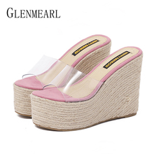 цена на Women Slippers Platform Summer Shoes High Heels Wedges Sandals Woman PVC Transparent Straw Shoes Bohemia Beach Slipper Flip Flop