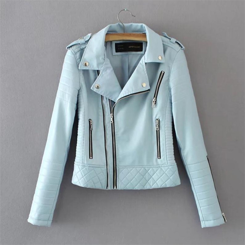 European Station Women's Wear Pu   Leather   Jacket Outerwear Fashion Leisure Slim Locomotive Wear   Leather   Jacket Short Outerwear XL