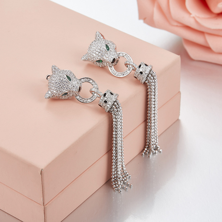 Hot sell USA and Europe big Brand Pure 925 Sterling Silver Tassels earrings For Women CZ Wedding Jewelry Leopard earrings hot sale tassels leopard pattern pashmina for women