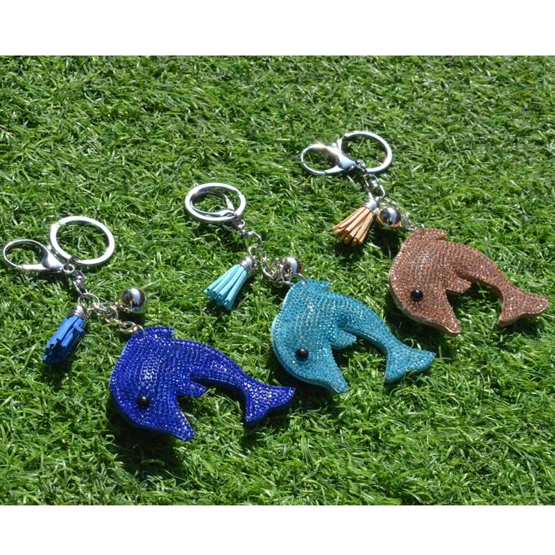 BONAMIE Sequins Dolphin Bag Decoration Keychain Bag Hanger Jewelry Leather Pendant Gift Couple Key Crystal