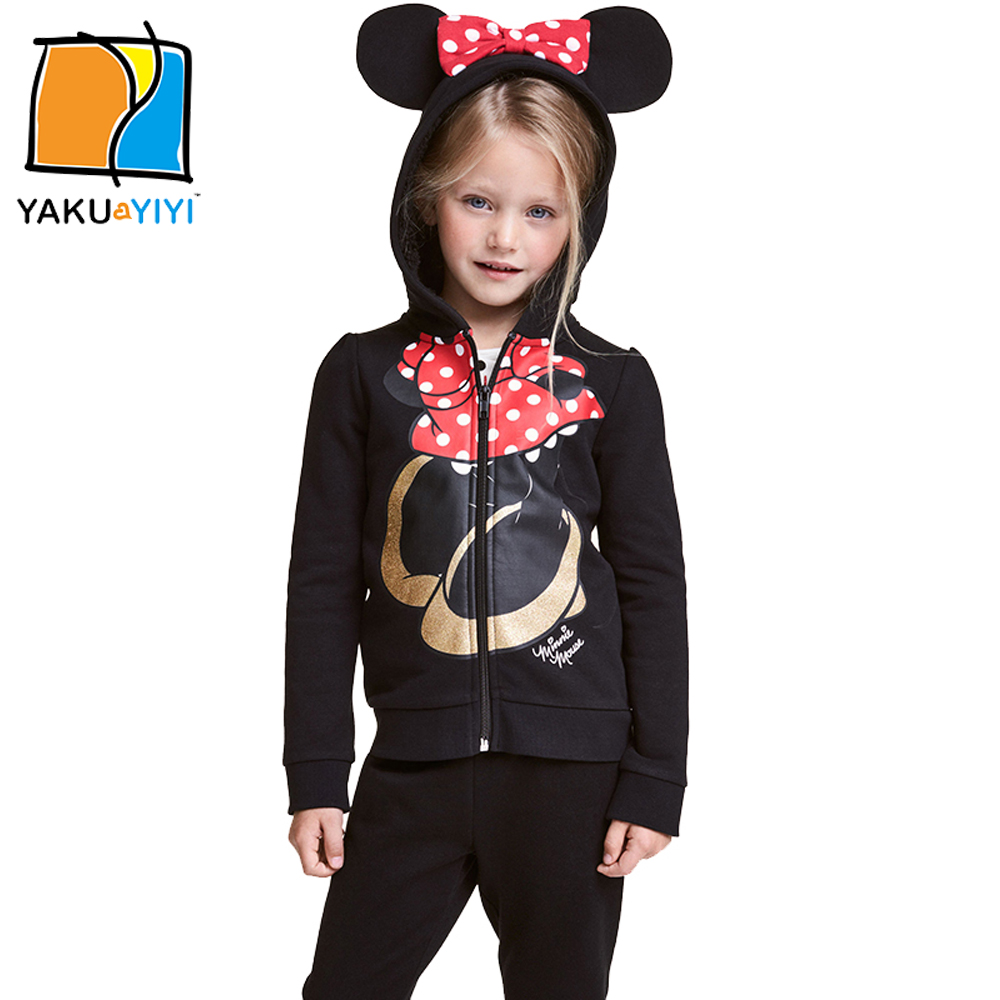 YKYY YAKUYIYI Sweet Cartoon Print Girls Coat Zipper Hooded Baby Girls Outwear Coat Long Sleeve Children