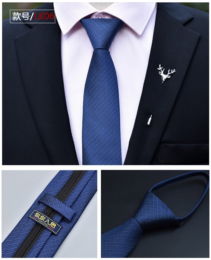 6cm Fashion Classical Mens Suit Business Wedding Polyester Ties Easy Zipper Blue Soild Groom Tie Mens Neck Tie