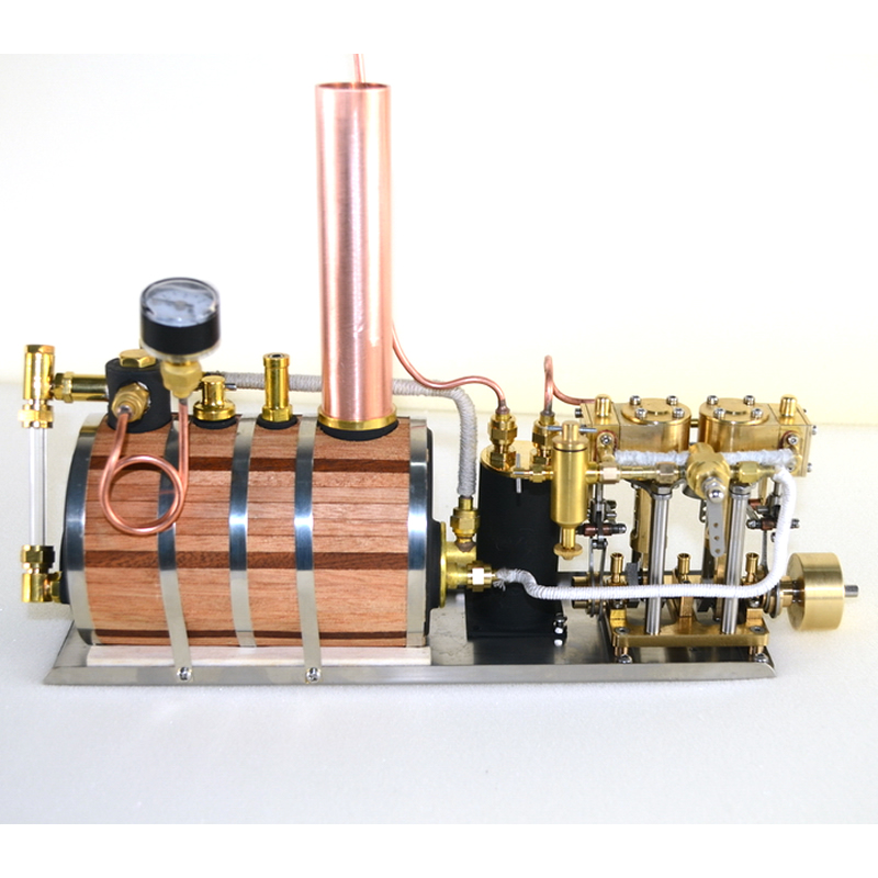 Inline two cylinder reciprocating steam engine model power group retro model and single vertical boiler Horizontal