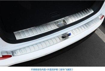 Dla Hyundai Tucson 2015 2016 2017 Rearguard bagażnika samochodu obejmuje wewnętrzne + zewnętrzne dekoracje akcesoria zderzak samochód stylizacji