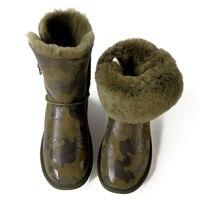 Зимние сапоги из овечьей кожи, сапоги из натуральной кожи, сапоги до середины икры с кристаллами и пуговицами, нескользящая женская обувь ка