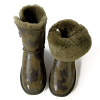 G&Zaco Winter Sheepskin Snow Boots Genuine Leather Crystal Button Mid Calf Wool Boots Flat Non Slip Camouflage Women Shoes