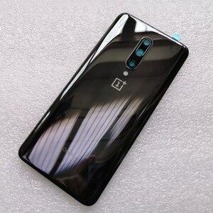 Image 2 - Yeni temperli cam arka kapak için OnePlus 7 Pro yedek parça arka pil kapağı kapı konut + kamera çerçeve + flaş kapak