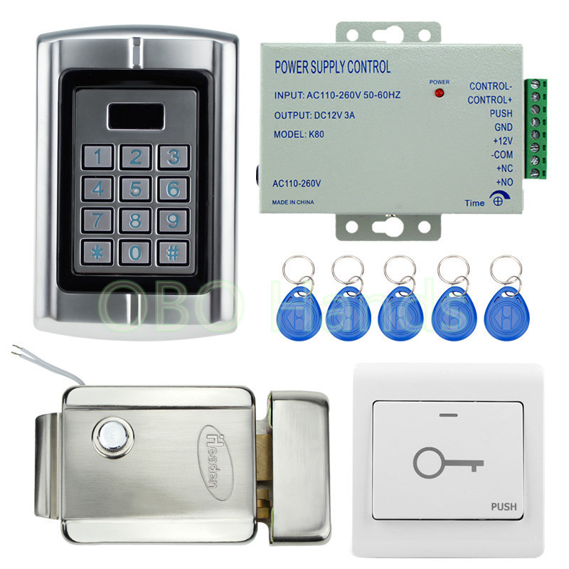 IP65 Standalone Access Controller Metal Waterproof Keypad With Electric Control Lock +5 RFID Keys For Door Access Control System