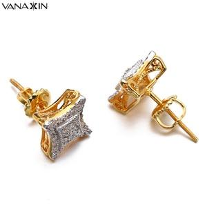 Image 1 - VANAXIN スタッドのイヤリングの男性女性バレンタインパンク凧 CZ イヤリングヴィンテージ 925 純銀製のスタッドジュエリーゴールド/シルバー色
