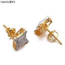 VANAXIN Stud Earrings Men Women Valentine Punk Kite CZ Earrings Vintage 925 Sterling Silver Stud Jewelry Gold/Silver Color