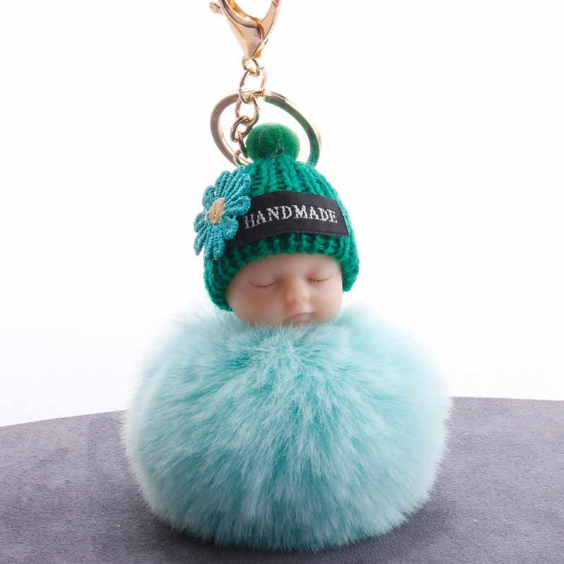 Chaveiro Bola de Pêlo bonito do Sono Do Bebê Pingentes Meninas Mulheres Saco Ornamentos Brinquedo Crianças Presentes de Aniversário Do Chuveiro de Bebê Decorações Do Partido favores