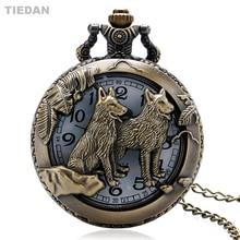 Fasion DUA Anjing Cantik Berongga Desain Metro Antique Quartz Pocket Watch dengan Rantai Kalung Fob Pocket Watch untuk Pria Wanita Hadiah