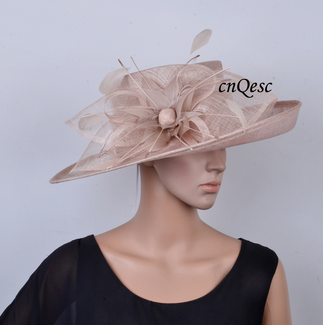6957d16954b Wholesale Big Beige wide brim Dress Church Hats Sinamay women s hat with  feather flowers for races