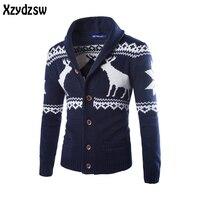 2016 Boże Narodzenie Deer Sweter Mężczyzn Dorywczo Sweter Mężczyzn Swetry Bawełniane Swetry Slim Skinny Fit Pull Homme Znosić Sweter Dla Mężczyzn