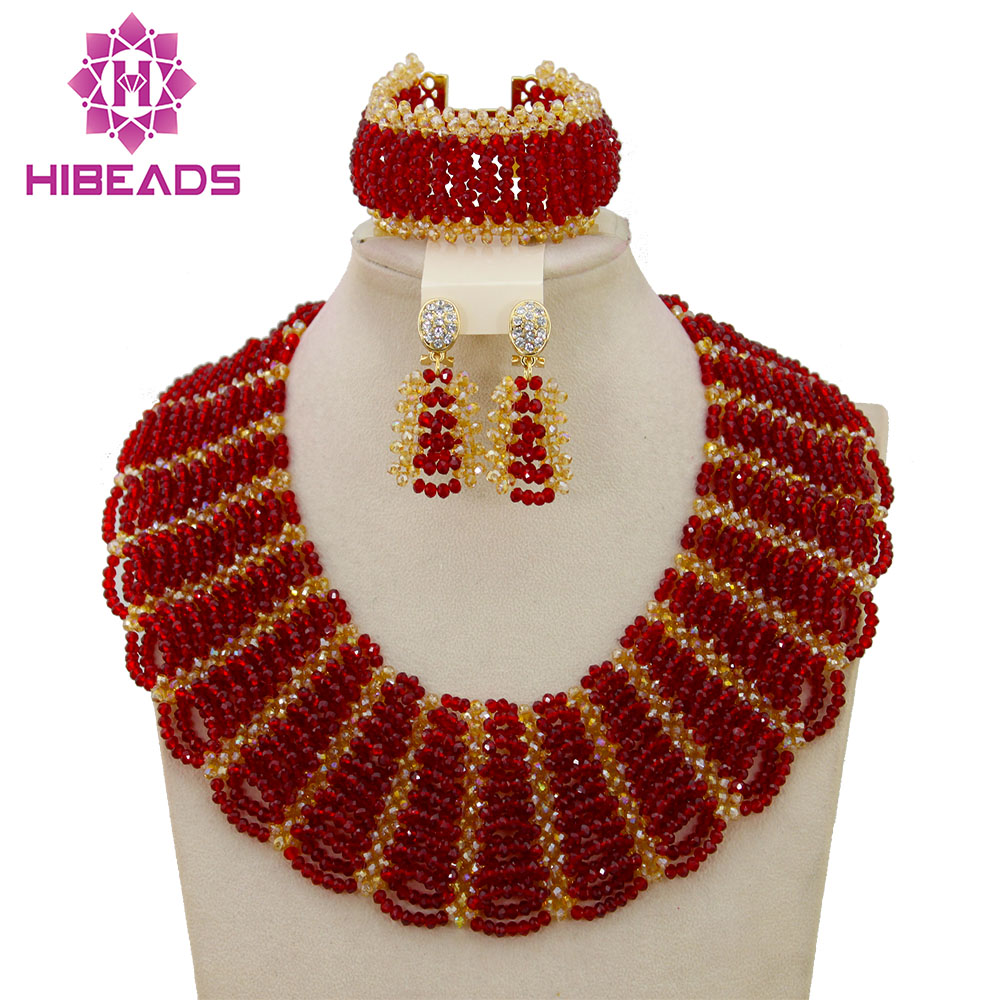 Red Gold African Costume Jewelry Set Pretty Wedding Beads Set Handmade Item Wholesale Free Shipping NCD039 luxury african dubai jewelry sets hot wedding beads set handmade item wholesale free shipping ncd022