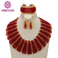 Red Gold African Costume Jewelry Set Pretty Wedding Beads Set Handmade Item Wholesale Free Shipping NCD039(China)