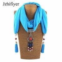 Jzhifiyer Women Pendant Scarf Necklace Wrap Jewelry Fashion Cotton Scarves Gemstone Women Street Shawl Beaded Jewellery