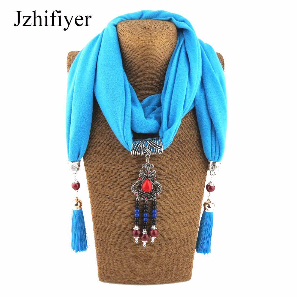 bed8e506d2c US $10.09 15% OFF|women pendant scarf necklace wrap Jewelry fashion cotton  scarves gemstone women street shawl beaded jewellery-in Women's Scarves ...