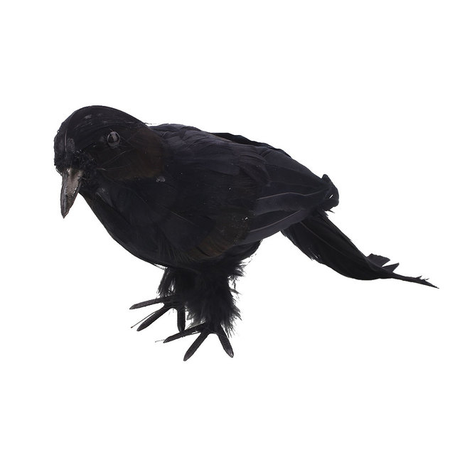 halloween looking birds black feathered crows life like party decoration