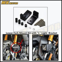 Free Shipping Black M6 Lower Fork Mount Kit With L Lights Bracket For YAMAHA YZF R3