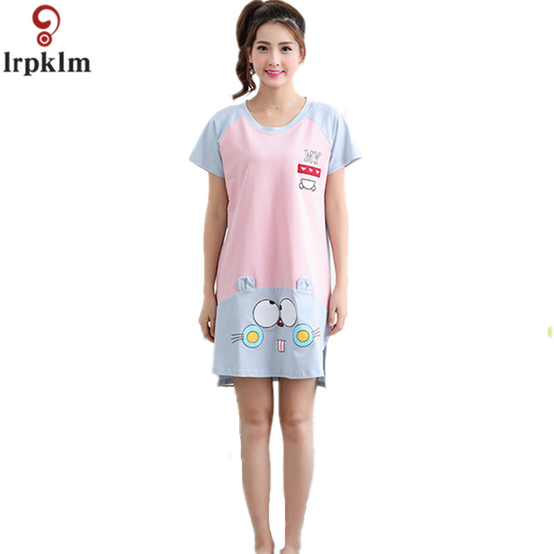 Casual Soft Cotton Nightgown Female Summer Cartoon Women Short-Sleeve  Sleepwear O-Neck Lounge Girl Sweet Nightdress SY439 307d042e1