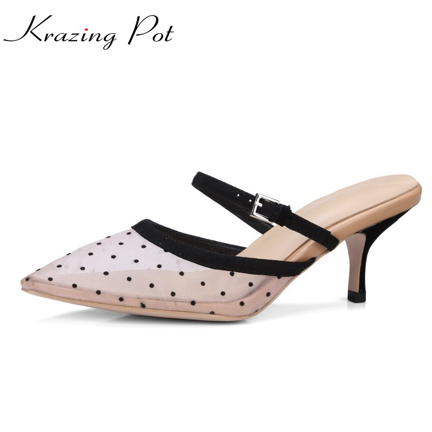 Krazing Pot sheep skin air mesh pointed toe wave point slip on stiletto thin high heel sandals women summer beauty lady pumps L krazing pot empty after shallow shoes woman lace work flats pointed toe slip on sheep suede causal summer outside slippers l16