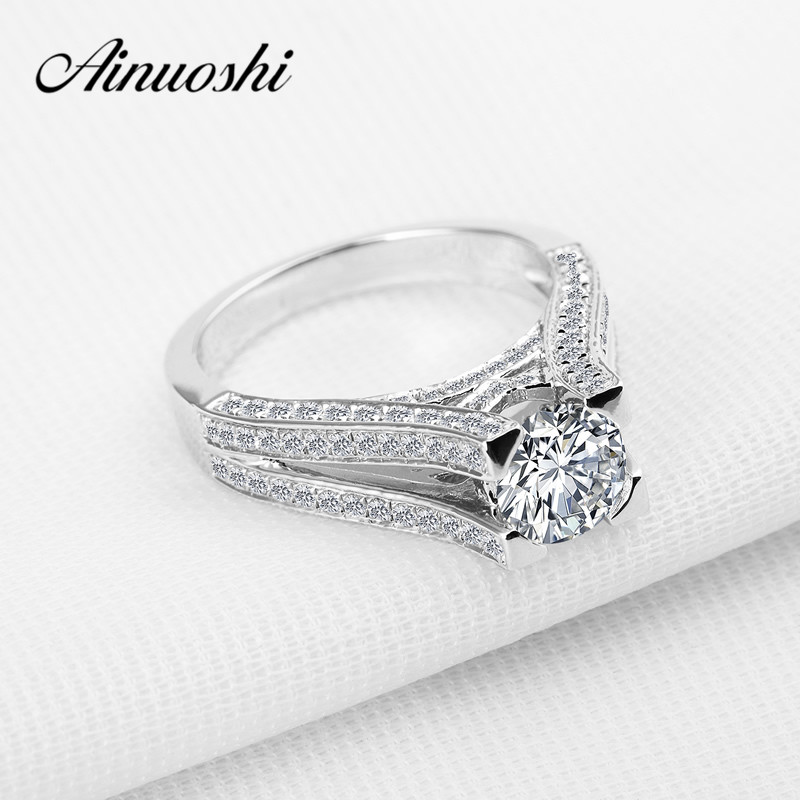 AINOUSHI Luxury Wedding Ring 1 Carat Sona Round Cut High Setting Ring Genuine 925 Sterling Silver Ring for Women Engagement Love luxury jewelry round cut sona diamond engagement ring in sterling silver