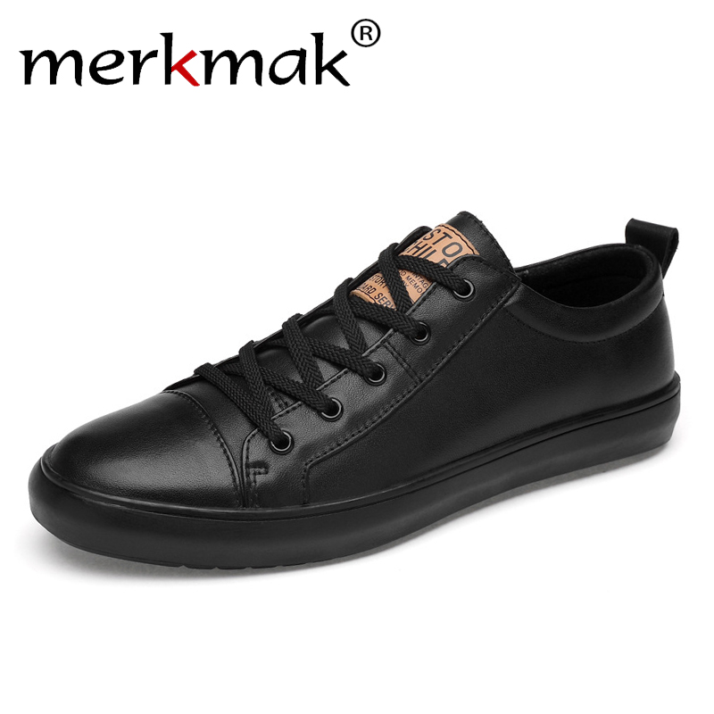 Merkmak Brand Men Shoes Leather Casual Black Shoes Mens Genuine Spring Autumn Lace Up Men Classic Fashion Sneakers 2019