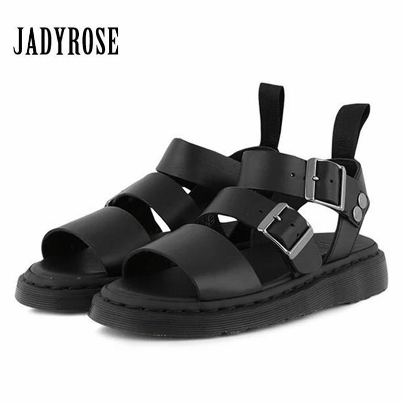 Jady Rose Punk Style Women Gladiator Sandals Black Flat Shoes Woman Casual Thick Heel Beach Flats