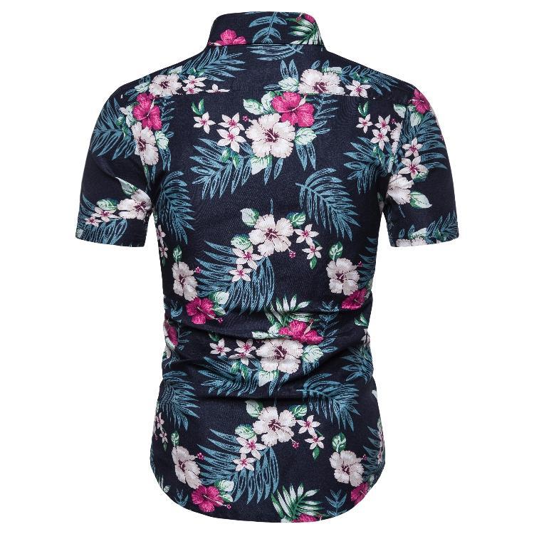 Summer Hawaiian Shirt for Men clothing Short sleeve Slim fit Casual Flower Social Men Shirt Blouse Men New in Casual Shirts from Men 39 s Clothing