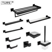 SUS 304 Stainless Steel Bathroom Hardware Set Black Matte Paper Holder Toothbrush Holder Towel Bar Bathroom Accessories цена 2017