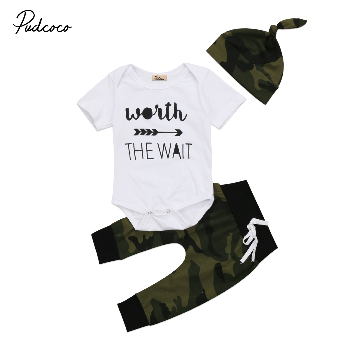 3Pcs Summer Newborn Baby Boy Casual Outfits Short Sleeve O-neck Tops Cotton   Romper  +Camouflage Pants Hat Set 3PCS