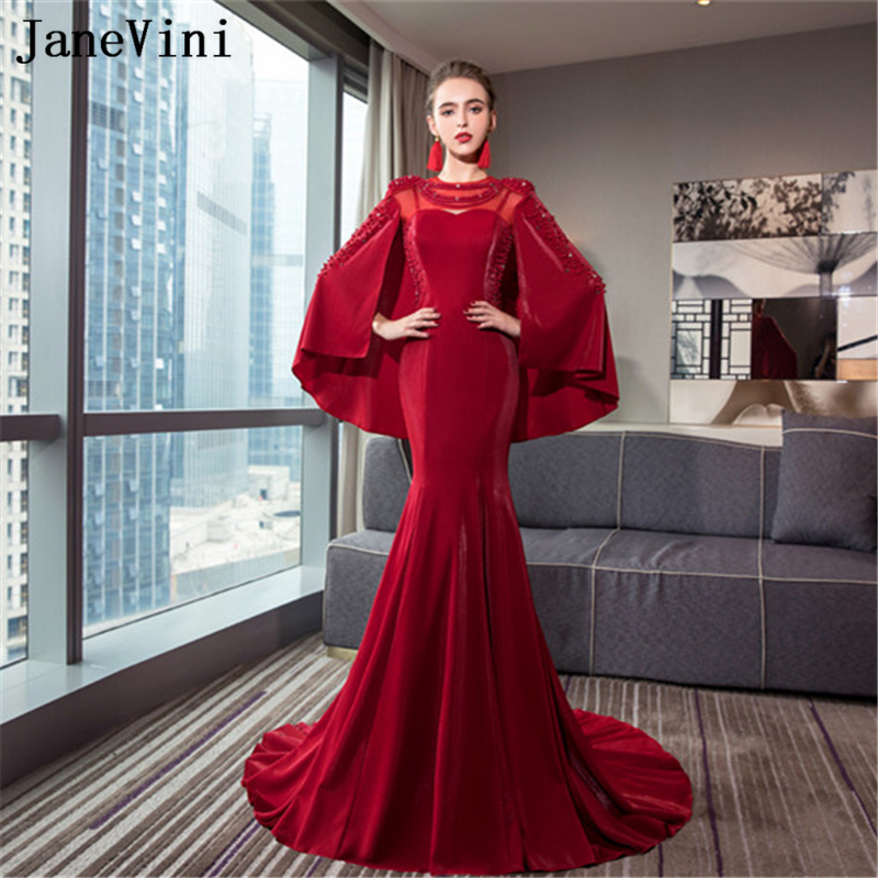 JaneVini Vestidos Luxurious Beaded Pearls Mermaid Mother of Bride Dress With Detachable Cape Women Burgundy Satin Evening Gowns