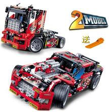 608pcs Race Truck Car 2 In 1 Transformable Model Building Block Sets Decool 3360 DIY Toys Compatible With Legeod