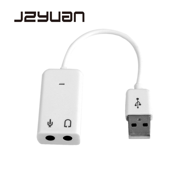 JZYuan External USB Audio Sound Card Adapter 7 1 Virtual Channel With Cable  Microphone 3 5mm jack Sound Cards for Laptop PC