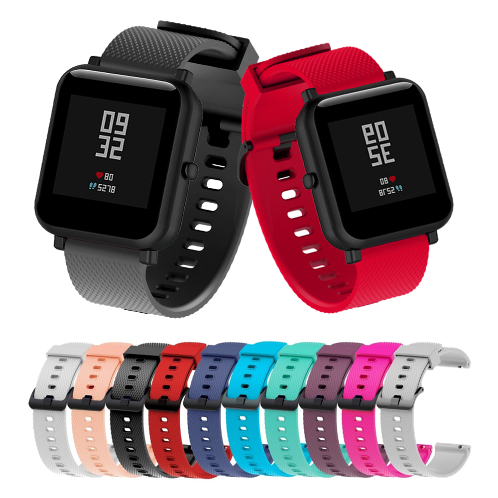 For Amazfit Bip Strap Silicone Watch Band For Xiaomi Amazfit Bip Bracelet For Samsung Galaxy Watch Active/Gear Sport 20mm Bands