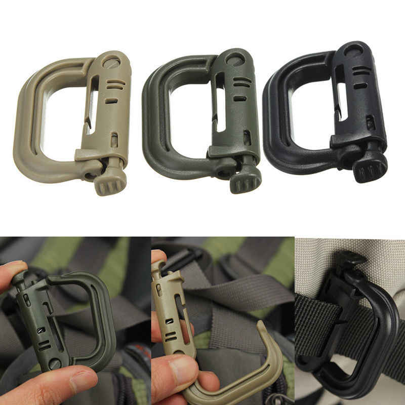 D-ring Backpack Buckle Clip Molle Webbing Snap Lock Hike Mountain Climb Outdoor Attach Plasctic Bracket Carabiner Grimlock Camp