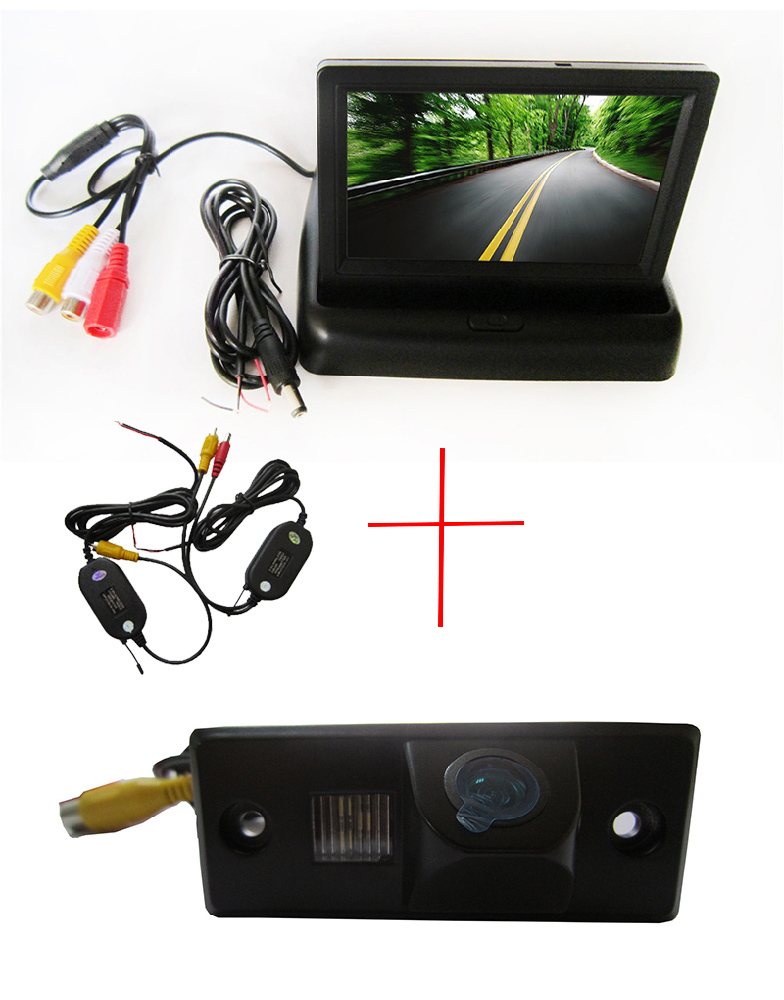 Wireless Color CCD Chip Car Rear View Camera for PORSCHE CAYENNE VW SKODA FABIA TIGUAN TOUAREG + 4.3 Inch foldable LCD Monitor car rear trunk security shield cargo cover for volkswagen vw tiguan 2016 2017 2018 high qualit black beige auto accessories
