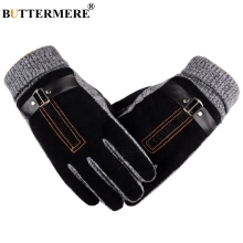BUTTERMERE Gloves Motorcycle Men Pigskin Leather Male Winter Warm Genuine Ski Motorbike Cycling For