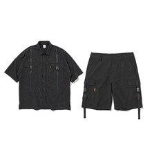 UNCLEDONJM Men shirt short sleeve black stripe casual tracksuit men 2019 summer streetwear loose fit harajuku 113S/114W
