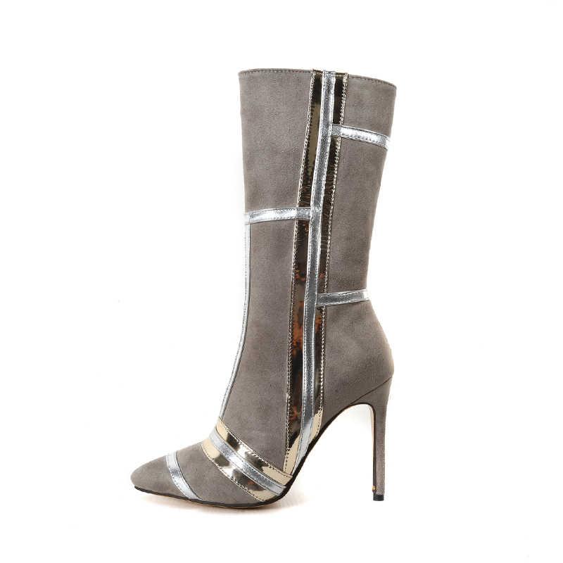 WETKISS Artı Boyutu 32-46 Akın Kadın Çizmeler Sivri Burun Ayakkabı Yüksek Topuklar Kadın Çizme Parti Diz Yüksek Ayakkabı kadın 2018 Kış