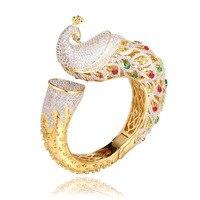 GrayBirds Classic Animal Peacock Cuff Bangles Bracelets Wedding Jewelry High Quality AAA Zirconia Luxury Jewelry MLB052