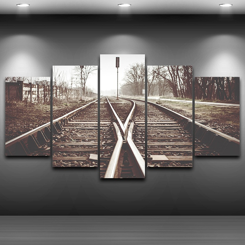 Old Railway Printed Home Decor Spray Oil Painting Decoration Framed wall art picture Artistic Printed Drawing on Canvas AE0987