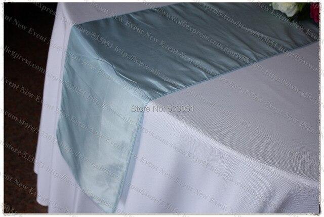 No 41 Sky Blue 35pcs Tafetta Chameleon Table Runner Tablecloth Cover For Wedding