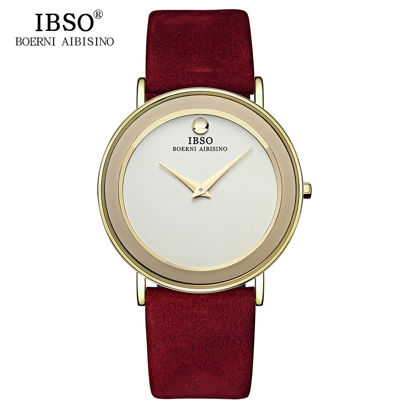 IBSO New 6MM Ultra-Thin Men Watches Luxury Genuine Leather Strap Quartz Watch Men Clock Waterproof Relogio Masculino 2017 #2216