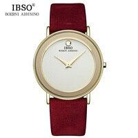 2016 IBSO 6MM Ultra Slim Mens Watches Brand Luxury Genuine Leather Strap Fashion Quartz Watch Men