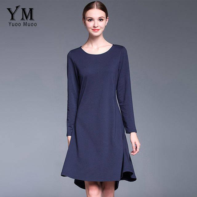 ed2ca1593fa4a US $23.86 40% OFF|YuooMuoo New European Fashion Autumn Women O neck  Comfortable Cotton Dress Solid Long Sleeve Knee length Casual Dress-in  Dresses ...