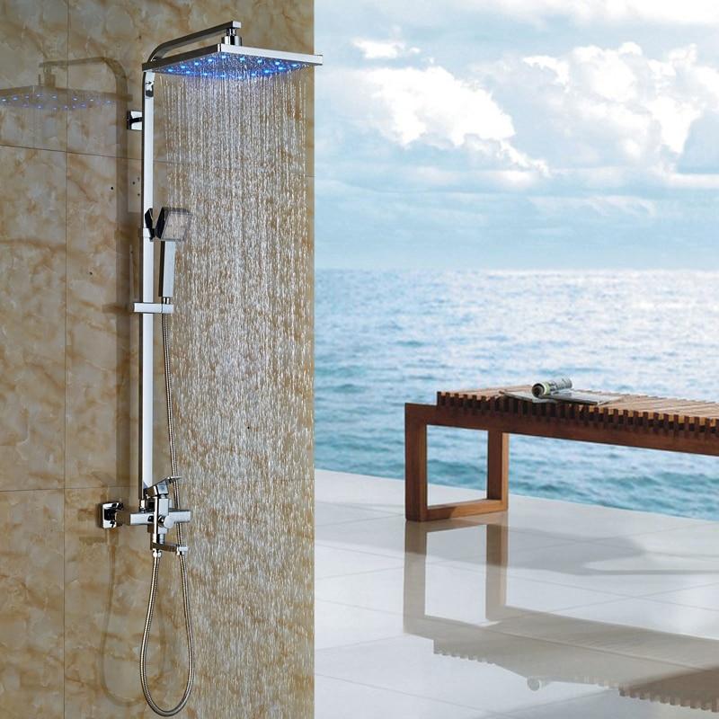 Wholesale and Retail 12 LED Light Shower Head + LED Light Handshower Shower Faucet